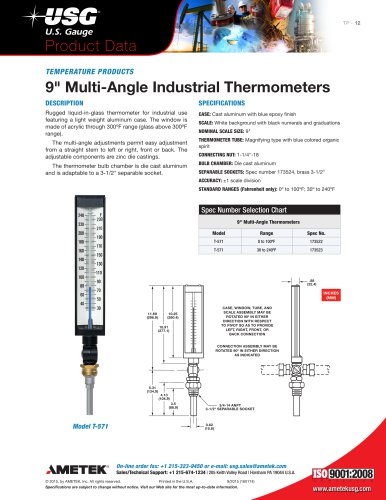 """9"""" Multi-Angle Industrial Thermometers"""