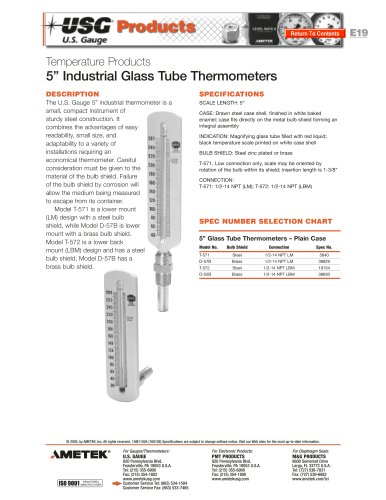 Model 571 and 572 Glass Tube Thermometers