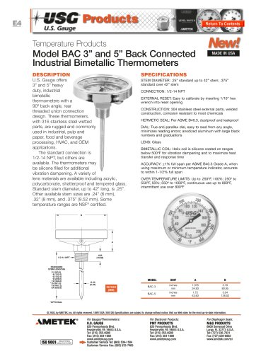 Model BAC Bimetallic Thermometers
