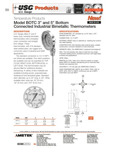 Model BOTC Bimetallic Thermometers
