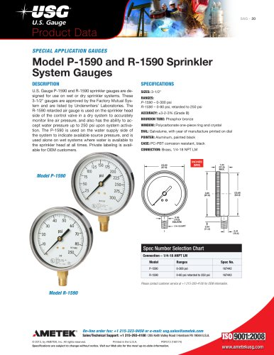 Model P-1590 and R-1590 Sprinkler System Gauges