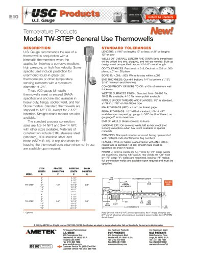Model TW-STEP Thermowells