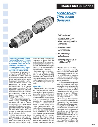 MICROSONIC® Thru-beam Sensors Model SM100 Series