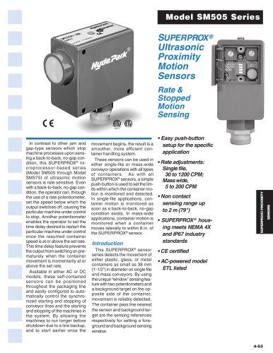 SUPERPROX® Ultrasonic Motion Sensors Model SM505 Series