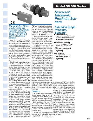 SUPERPROX® Ultrasonic Proximity Sensors Model SM300 Series