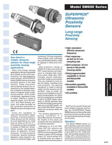SUPERPROX® Ultrasonic Proximity Sensors Model SM600 Series