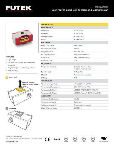 MODEL LRF350 Low Profile Load Cell Tension and Compression
