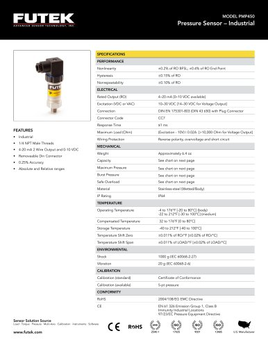 MODEL PMP450 Pressure Sensor – Industrial