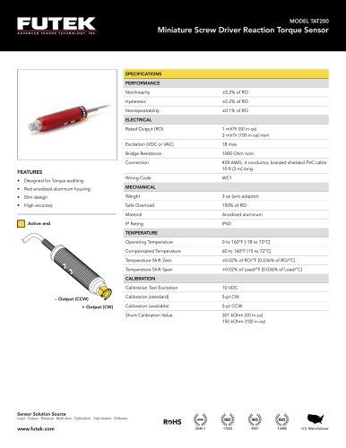 MODEL TAT200 Miniature Screw Driver Reaction Torque Sensor