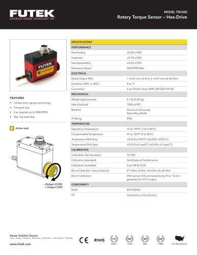 MODEL TRH300 Rotary Torque Sensor – Hex-Drive