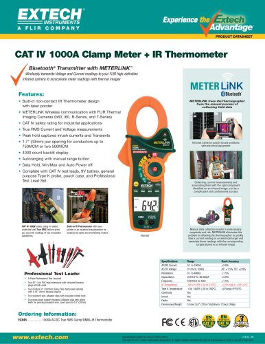 EX845: 1000A AC/DC True RMS Clamp/DMM with IR Thermometer and Bluetooth MeterLink™
