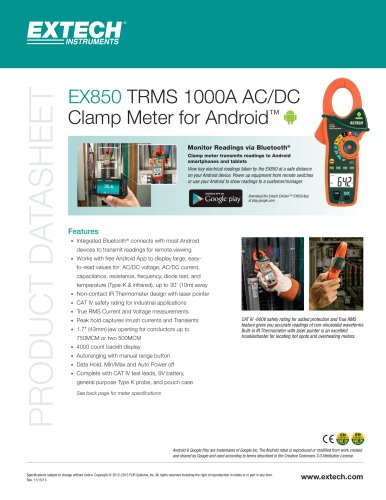 EX850: True RMS 1000A AC/DC Clamp Meter with Bluetooth®
