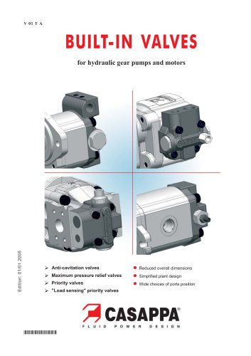 Built-in valves for hydraulic gear pumps and motors
