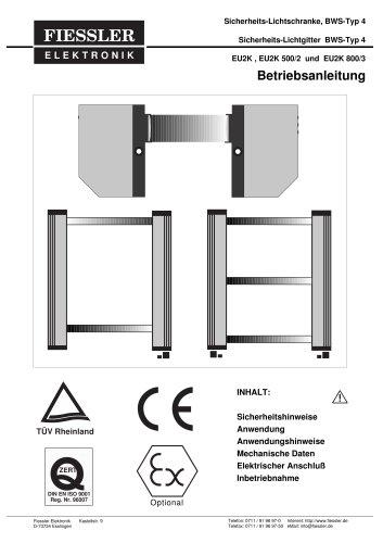 EU2K - Einstrahl-Unfallschutz-Lichtschranke Betriebsanleitung
