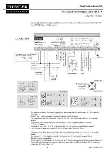 LSUW NSR3-1 K Elektrischer Anschluß