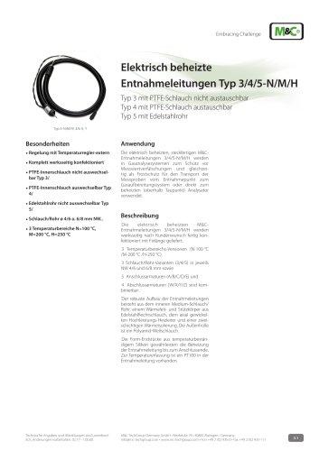Elektrisch beheizte Entnahmeleitungen Typ 3/4/5-N/M/H