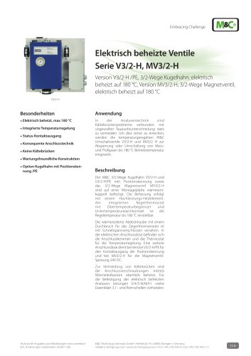 Elektrisch beheizte Ventile Serie V3/2-H, MV3/2-H