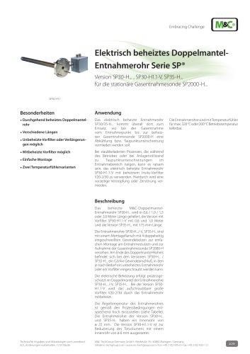 Elektrisch beheiztes Doppelmantel-Entnahmerohr Serie SP®