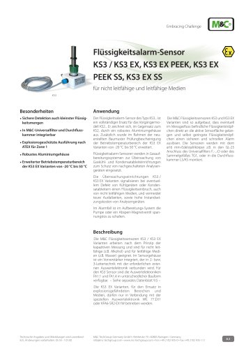 Flüssigkeitsalarm-Sensor KS3 / KS3 EX, KS3 EX PEEK, KS3 EX PEEK SS, KS3 EX SS