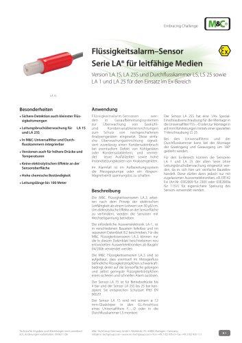 Flüssigkeitsalarm–Sensor Serie LA® für leitfähige Medien