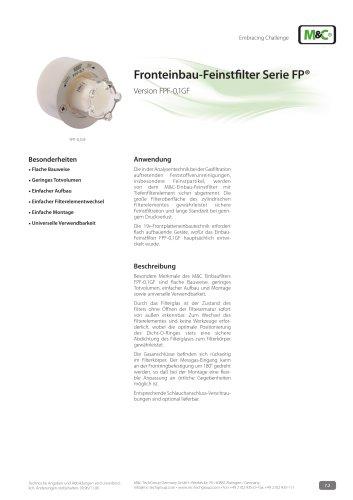 Fronteinbau-Feinstfilter Serie FP® - Version FPF-0,1GF