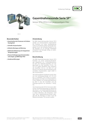 Gasentnahmesonde Serie SP® - Version SP10, SP10-H