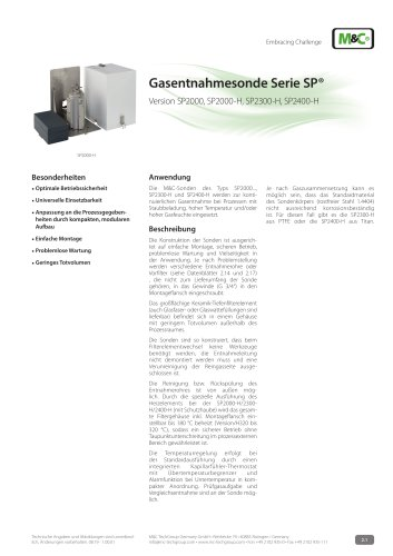 Gasentnahmesonde Serie SP® - Version SP2000, SP2000-H, SP2400-H