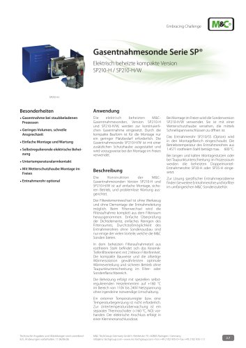 Gasentnahmesonde Serie SP® - Version SP210-H, SP210-H/W