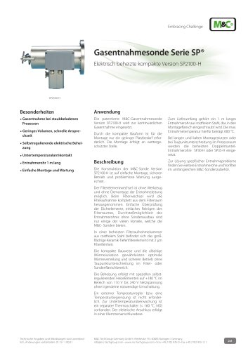 Gasentnahmesonde Serie SP® - Version SP2100-H