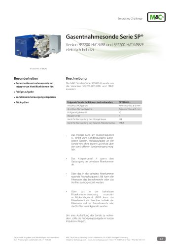 Gasentnahmesonde Serie SP® - Version SP2200-H/C/I/BB/F