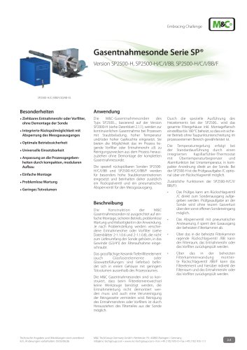 Gasentnahmesonde Serie SP® - Version SP2500-H/C/I/BB