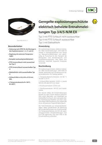 Geregelte explosionsgeschützte elektrisch beheizte Entnahmeleitungen Typ 3/4/5-N/M EX