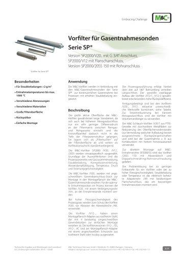 Vorfilter für Gasentnahmesonden  Serie SP® - SP2000/V20