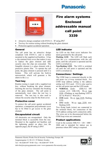 Enclosed addressable manual call point 3339