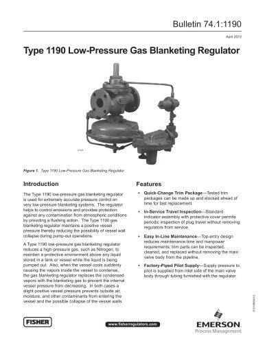 1190 Low Pressure Gas Blanketing Regulator