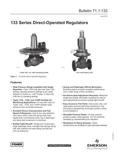 133 Series Self-Operated Regulators