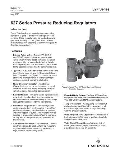 627 Series Pressure Reducing Regulators