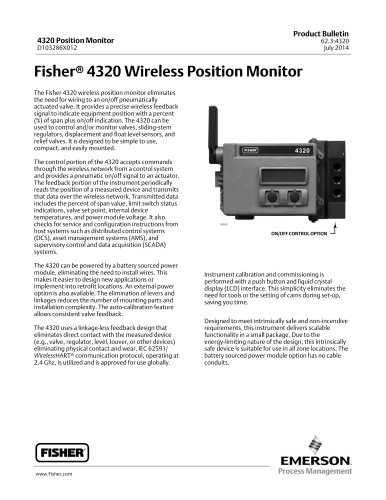 Fisher® 4320 Wireless Position Monitor