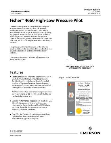 Fisher™ 4660 High-Low Pressure Pilot