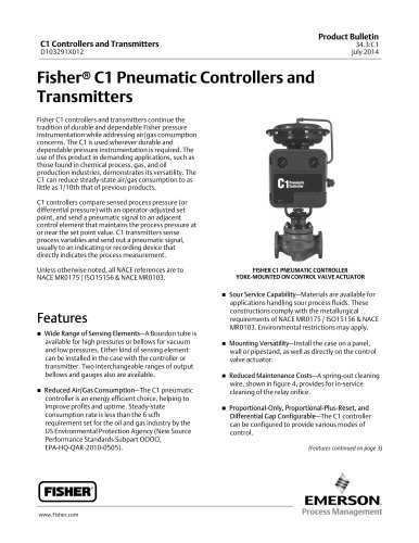 Fisher® C1 Pneumatic Controllers and Transmitters