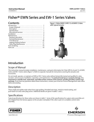 Fisher® EWN Series and EW-1 Series Valves