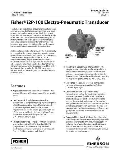 Fisher® i2P-100 Electro-Pneumatic Transducer