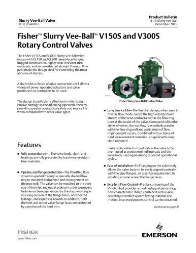 Fisher™ Slurry Vee‐Ball™ V150S and V300SRotary Control Valves