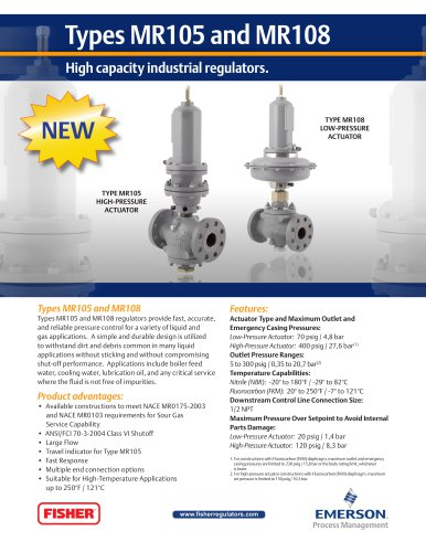 MR105 and MR108 High Capacity Industrial Regulators Flier