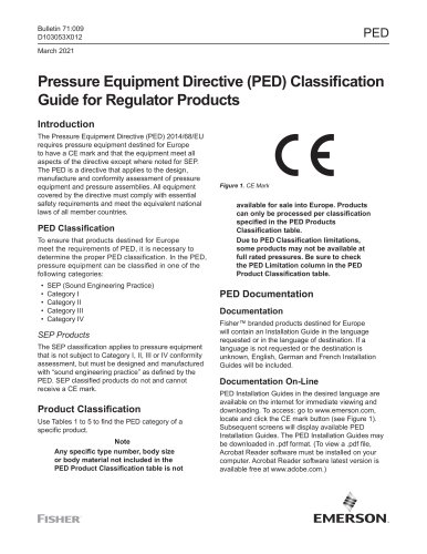 Pressure Equipment Directive (PED) Classification Guide for Regulator Products