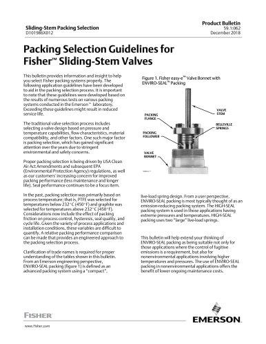 Sliding-Stem Packing Selection