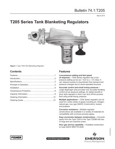 T205 Series Tank Blanketing Regulators