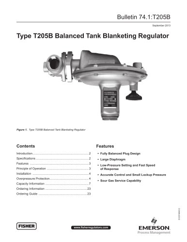 T205B Balanced Tank Blanketing Regulator