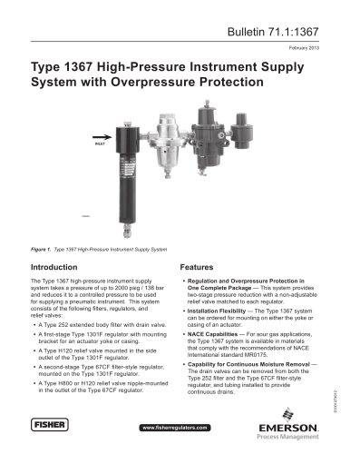 Type 1367 High-Pressure Instrument Supply System with Overpressure Protection