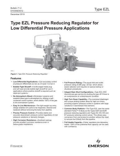 Type EZL Pressure Reducing Regulator for Low Differential Pressure Application